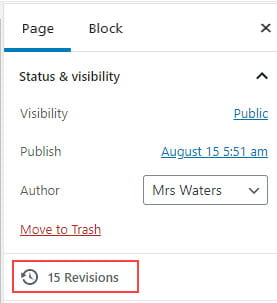 Click on Revisions