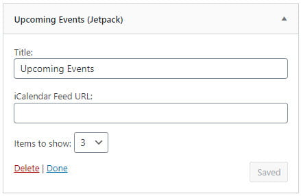 Upcoming Events Widget settings