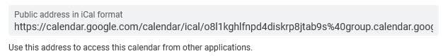 iCal URL