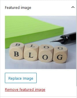 Featured image in block editor