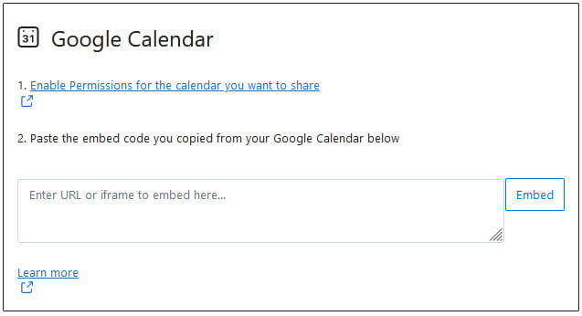 Google Calendar Block