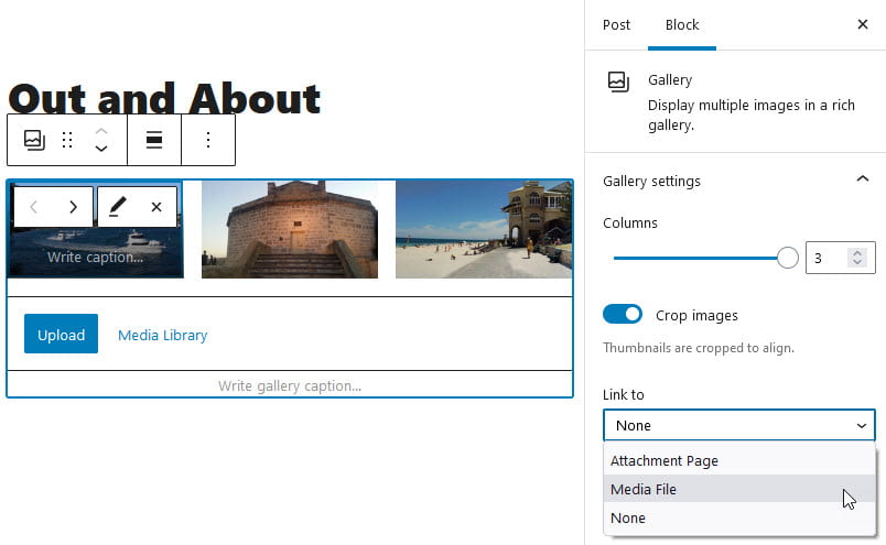 Link to media file using Gallery block