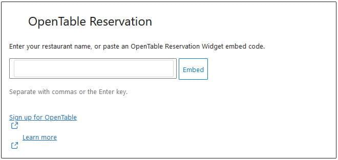 OpenTable Block