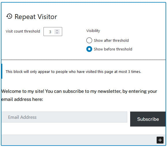 Repeat visitor example