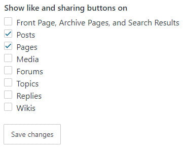 Select where sharing buttons display