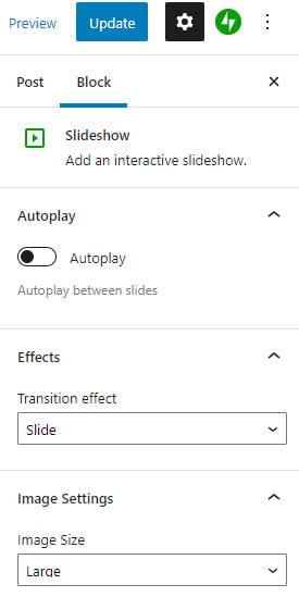 Slideshow sidebar options