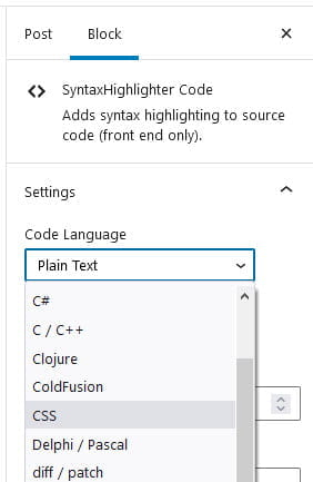 Select Code language