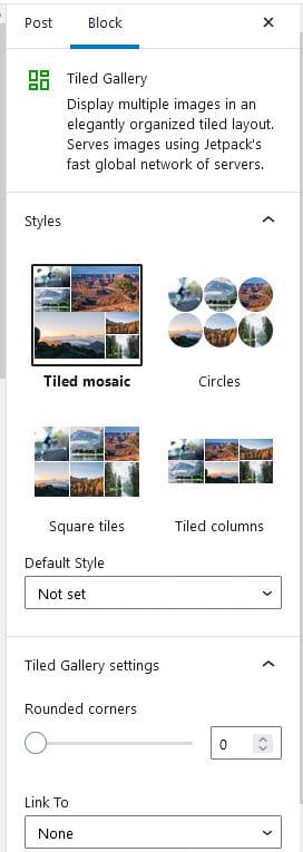 Tiled Gallery sidebar options