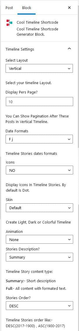Timeline Block Settings
