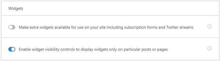 Enable widget visibility