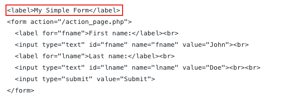 Screenshot displaying a label element outside a form element.