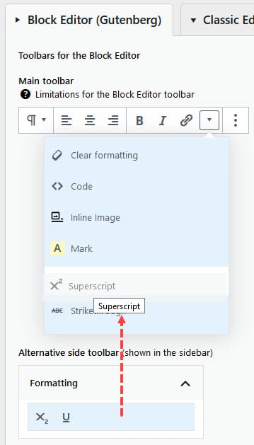 Reordering items in paragraph toolbar
