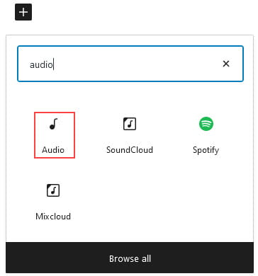 Add Audio block