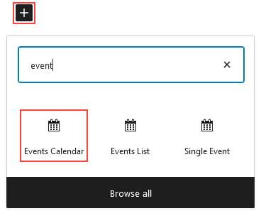 Events Calendar Block