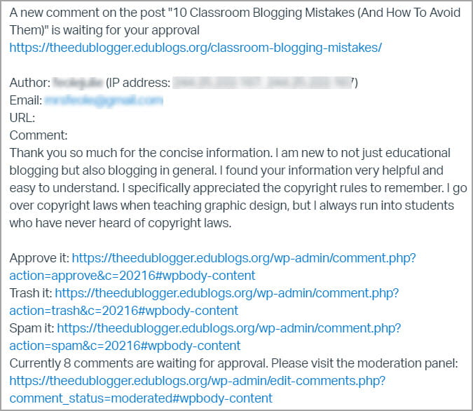 Comment moderation email
