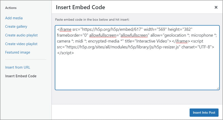 Paste into the Insert embed code