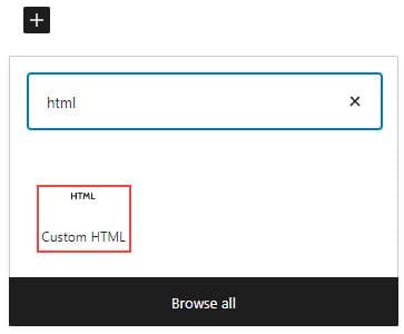 Add custom HTML block
