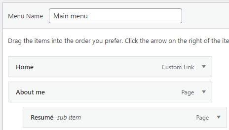 Sub menu example