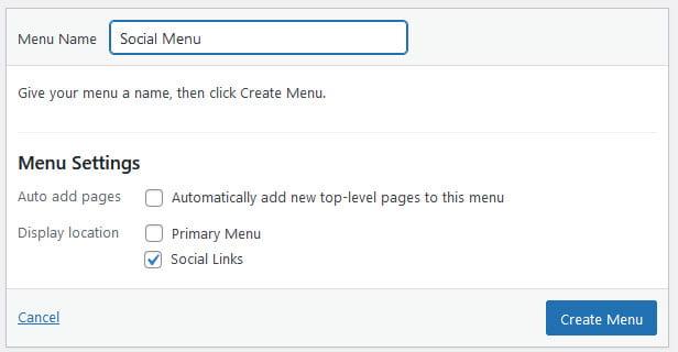 Create social menu
