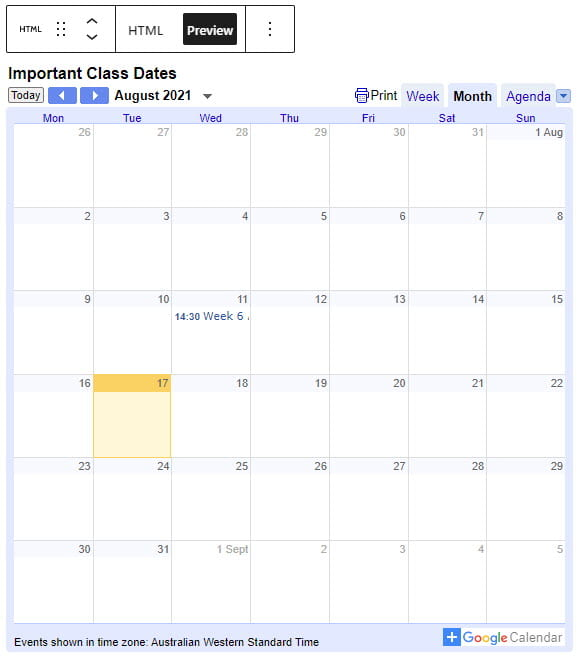 Preview calendar
