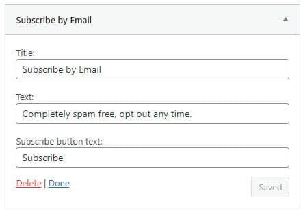 Subscribe by email widget