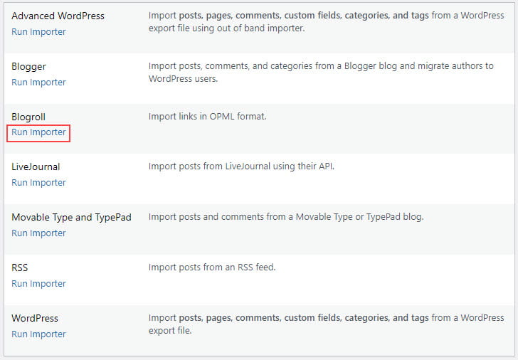 Click on Run importer under blogroll