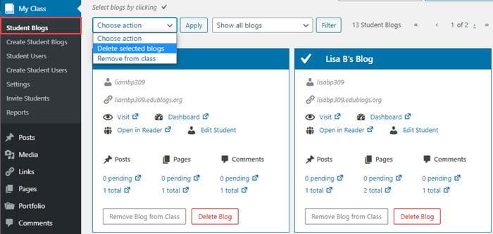 Delete student blogs