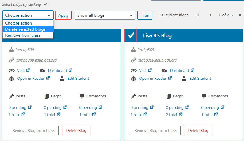Select the student blogs to delete