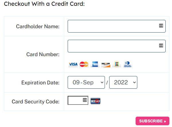 Add credit card info