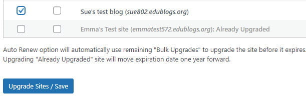 Select site and click Upgrade Sites
